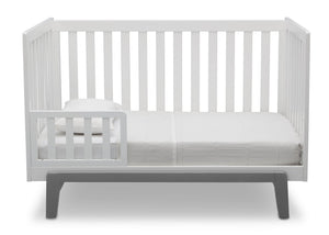 Delta Children Bianca White with Grey (166) Aster 3-in-1 Crib, Toddler Bed Conversion