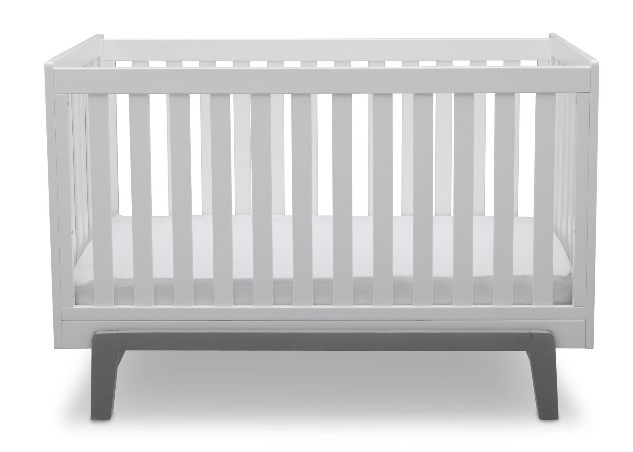 Delta Children Bianca White with Grey (166) Aster 3-in-1 Crib, Straight Crib View b3b