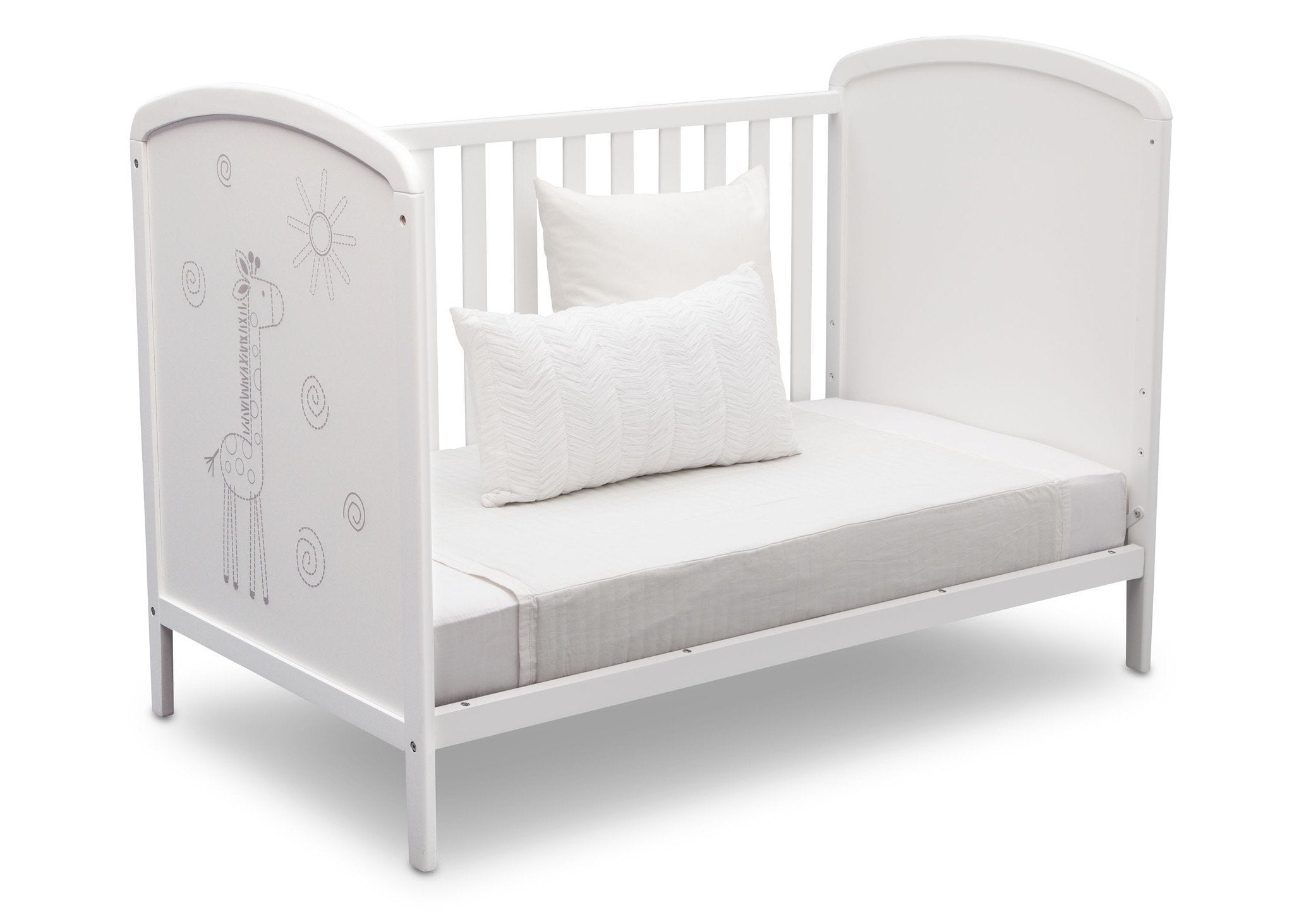 Delta Children, Bianca With Animal Motif (1303), Modbaby 3-in-1 Crib, angled daybed conversion, a6a