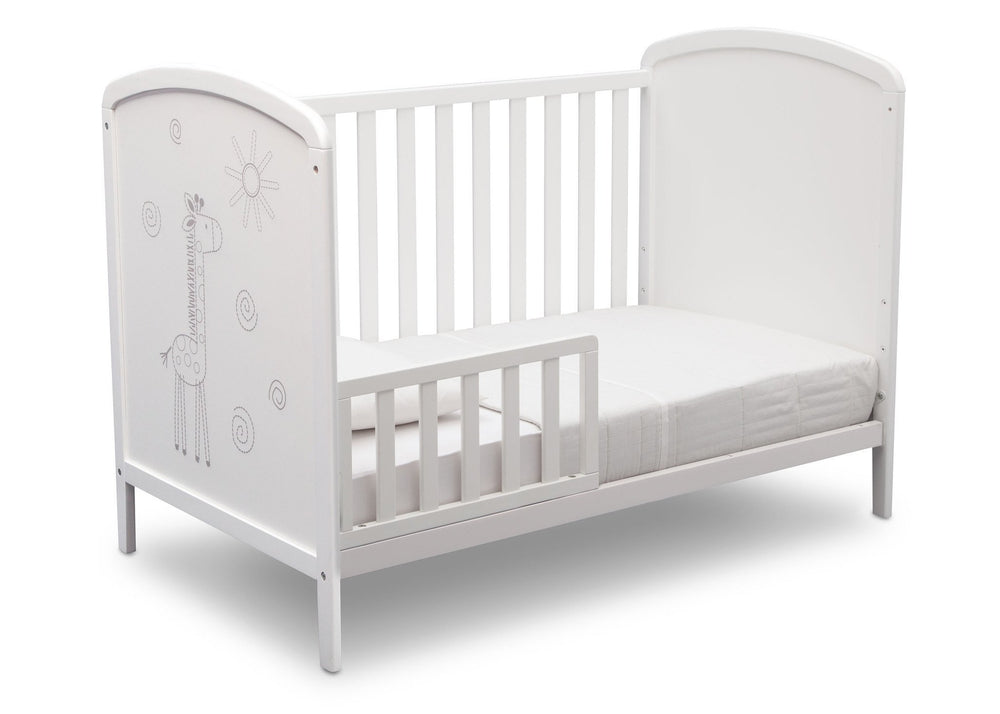 Delta Children, Bianca With Animal Motif (1303), Modbaby 3-in-1 Crib, angled toddler bed conversion, a5a