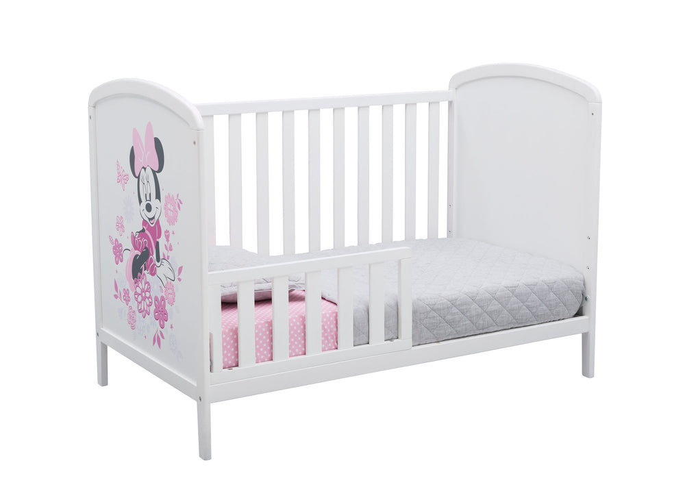 Delta Children Bianca White (1302) Disney Minnie Mouse 3-in-1 Convertible Baby Crib Toddler Bed Silo View
