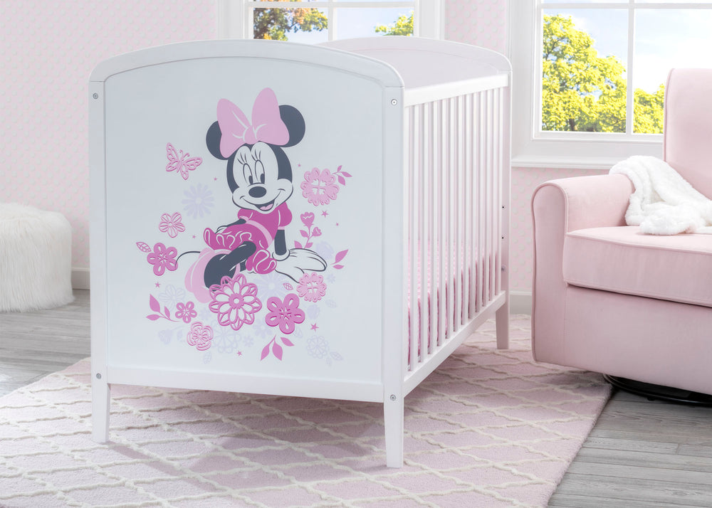 Delta Children Bianca White (1302) Disney Minnie Mouse 3-in-1 Convertible Baby Crib Hangtag View