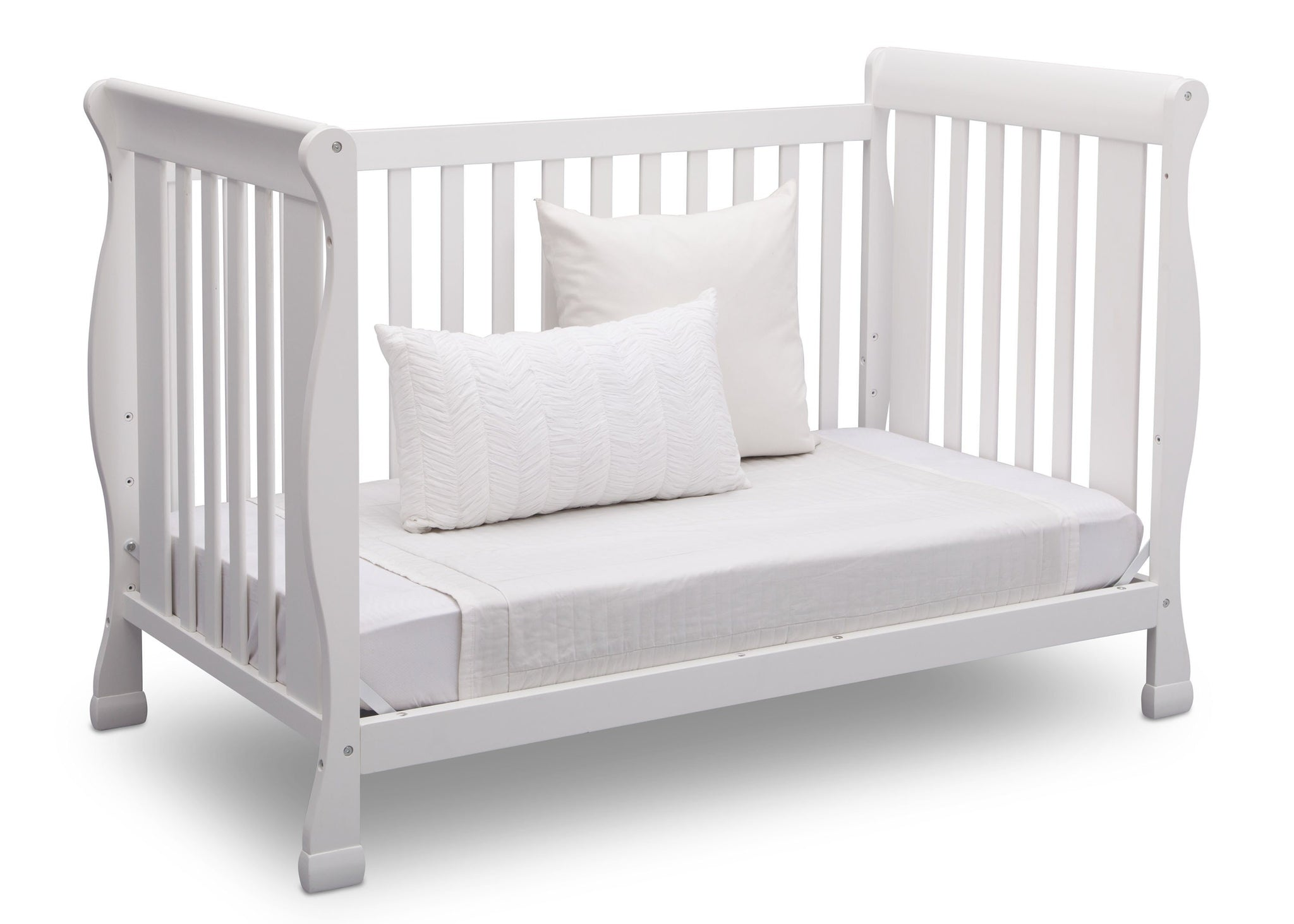 Delta Children Bianca (130) Riverside 4-in-1 Crib, angled conversion to daybed, a5a