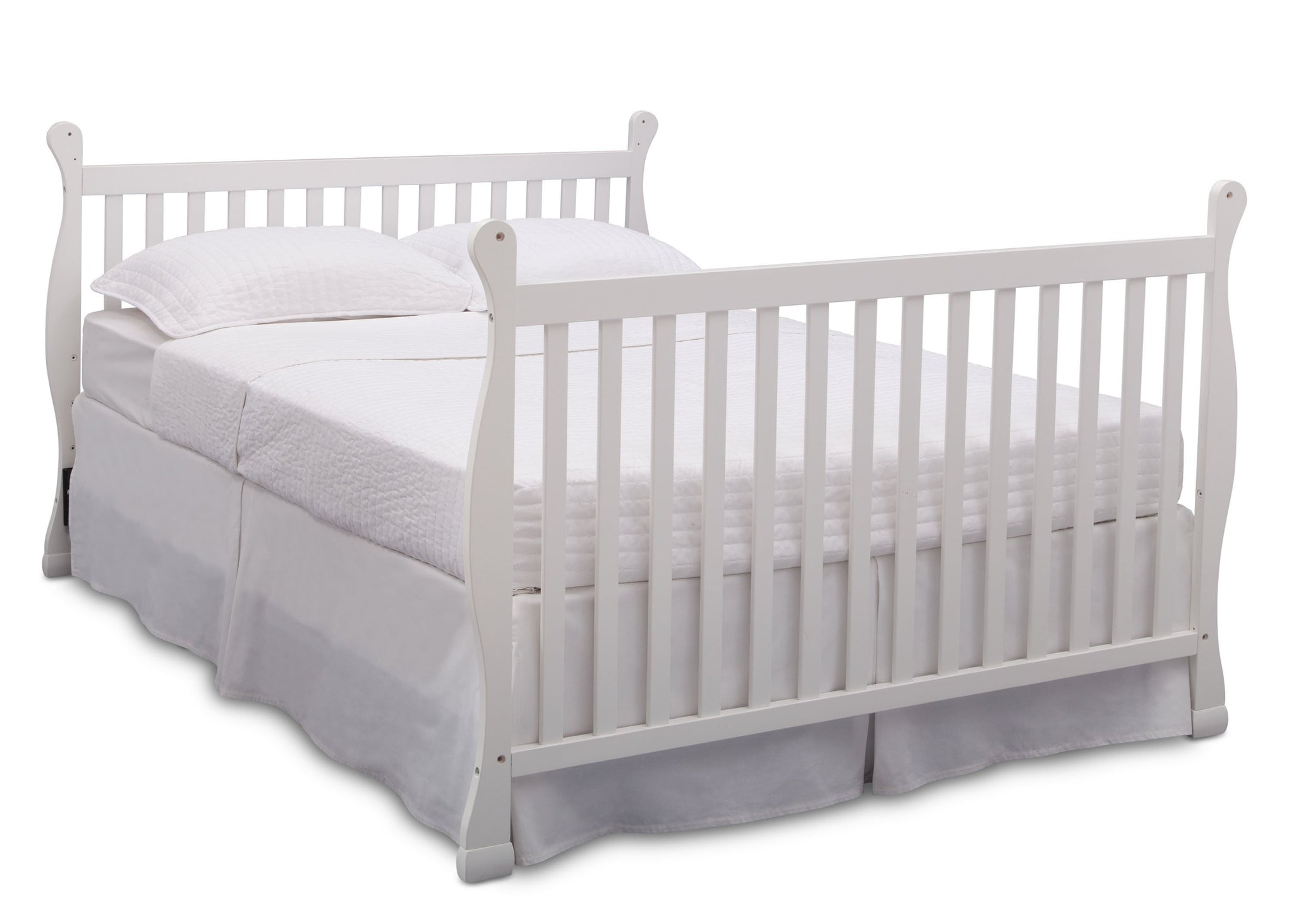 Delta Children Bianca (130) Riverside 4-in-1 Crib, angled conversion to full size bed, a6a