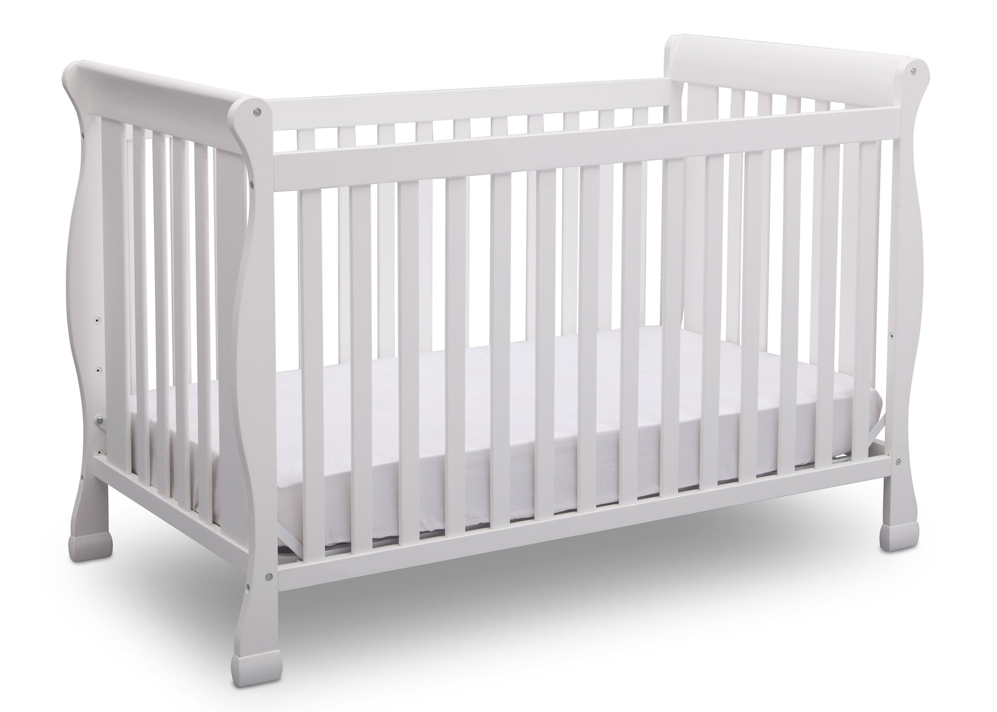 Delta Children Bianca (130) Riverside 4-in-1 Crib, angled view, a3a