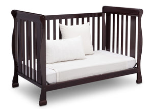 Delta Children Dark Chocolate (207) Riverside 4-in-1 Crib, angled conversion to daybed, b5b