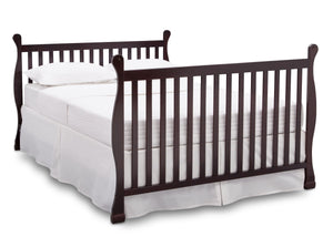 Delta Children Dark Chocolate (207) Riverside 4-in-1 Crib, angled conversion to full size bed, b6b