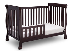 Delta Children Dark Chocolate (207) Riverside 4-in-1 Crib, angled conversion to toddler bed, b4b