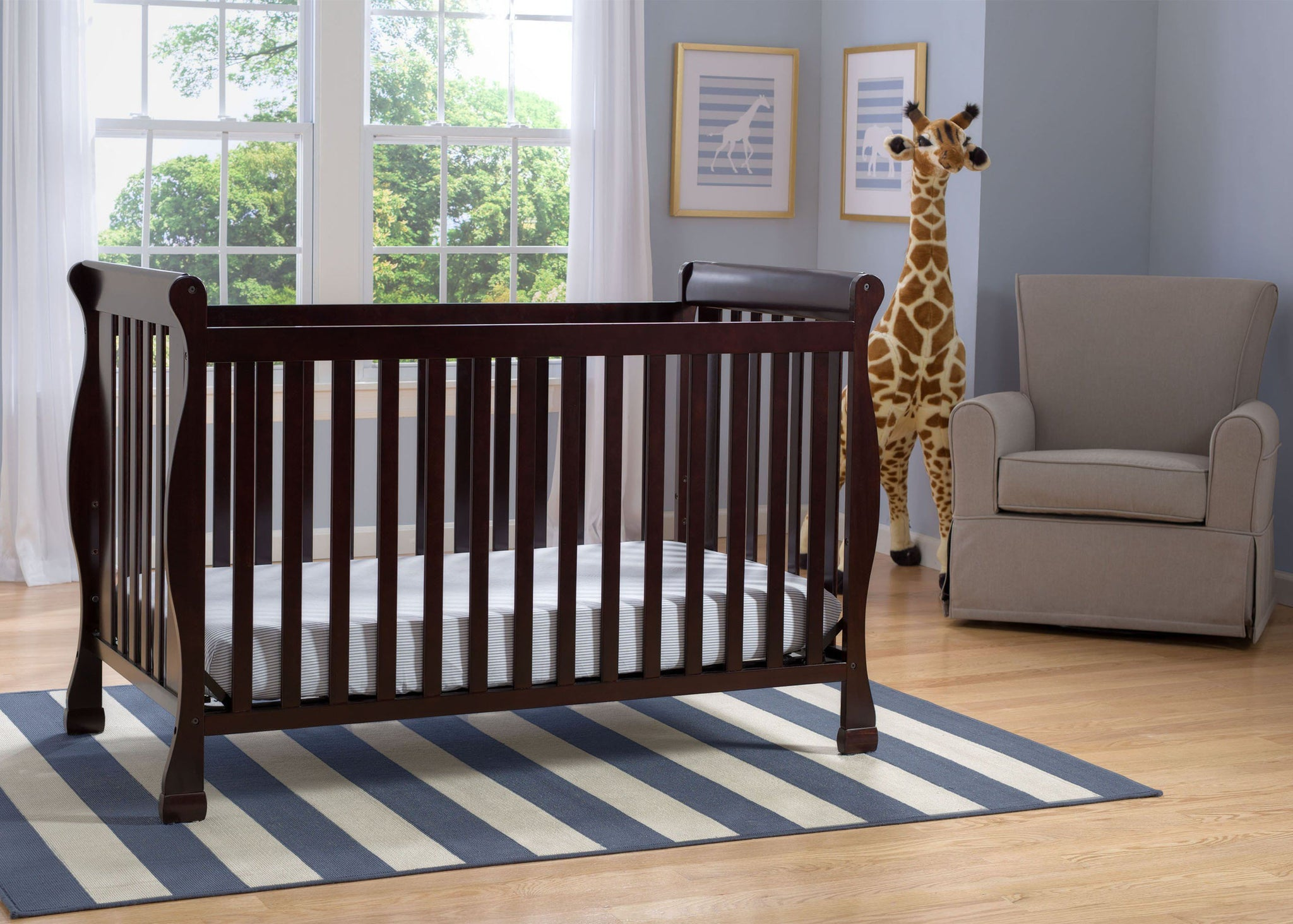Delta Children Dark Chocolate (207) Riverside 4-in-1 Crib, room view, b1b