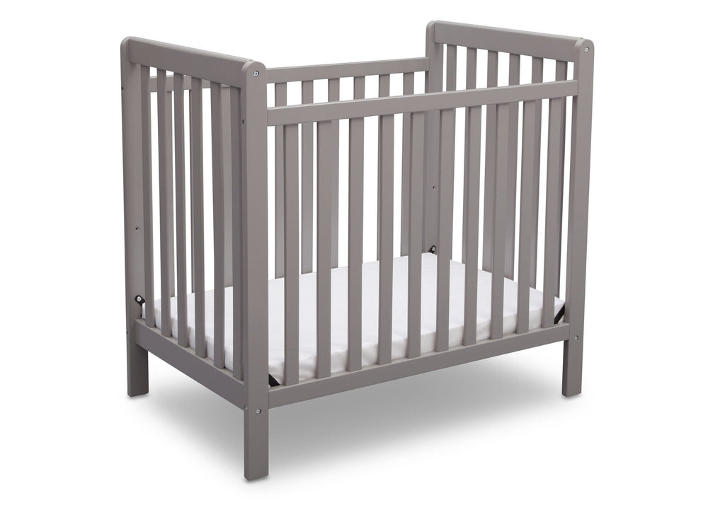 Delta Children Grey (026) Classic Mini Crib with Mattress Side View b3b