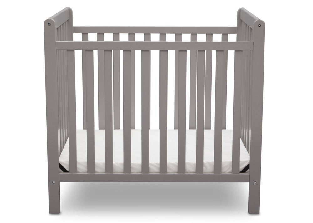 Delta Children Grey (026) Classic Mini Crib with Mattress Front View b2b
