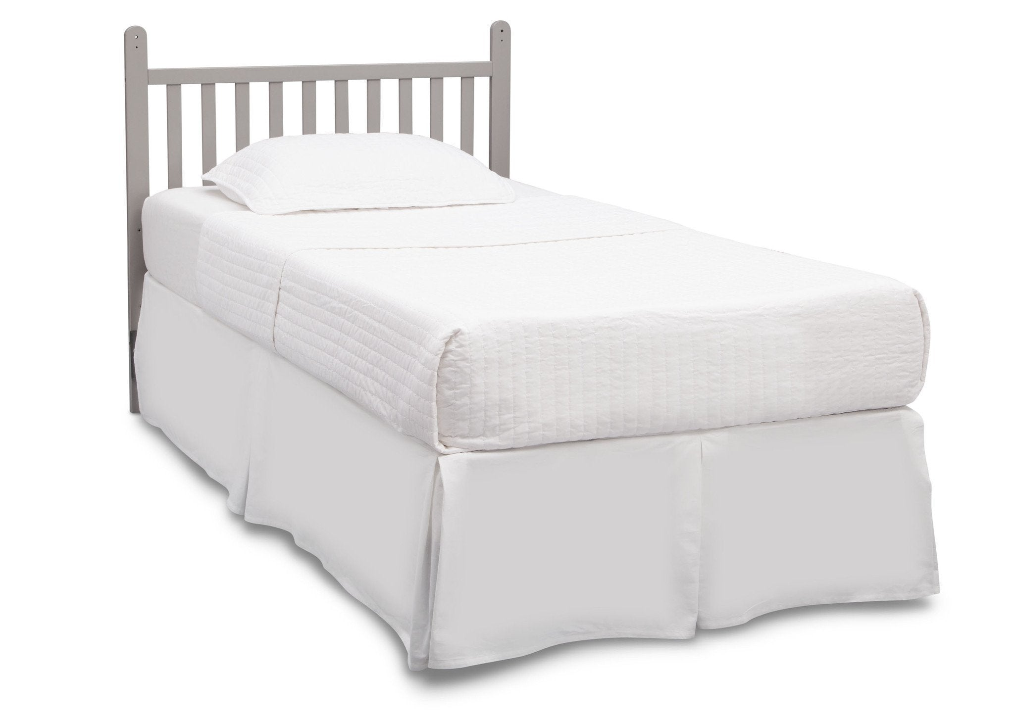 Delta Children Grey (026) Classic Mini Crib with Mattress toddler bed conversion side view b4b