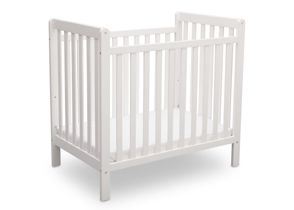 Delta Children Bianca (130) Classic Mini Crib with Mattress Side View a4a