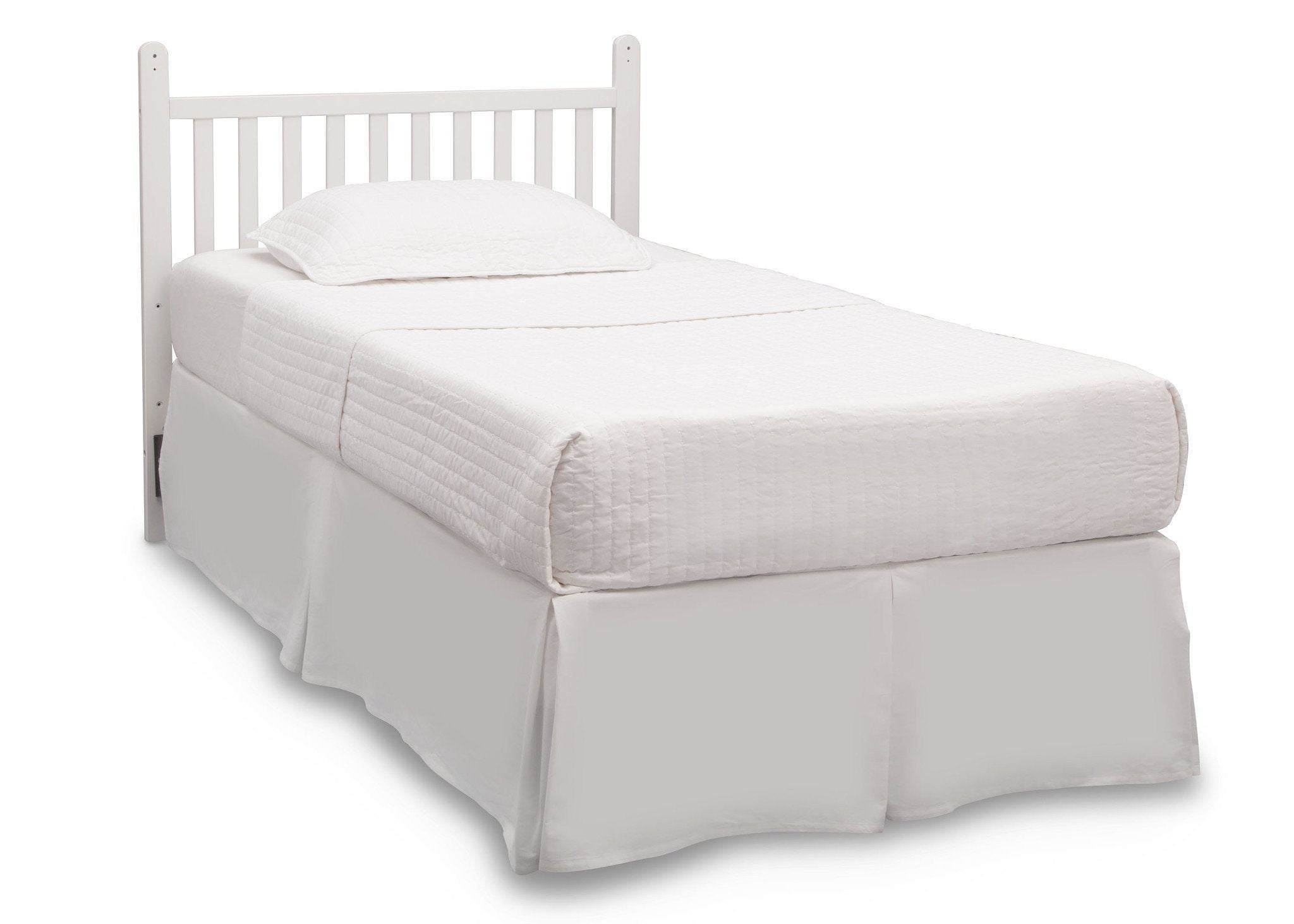 Delta Children Bianca White (130) Classic Mini Crib with Mattress toddler bed conversion side view a5a