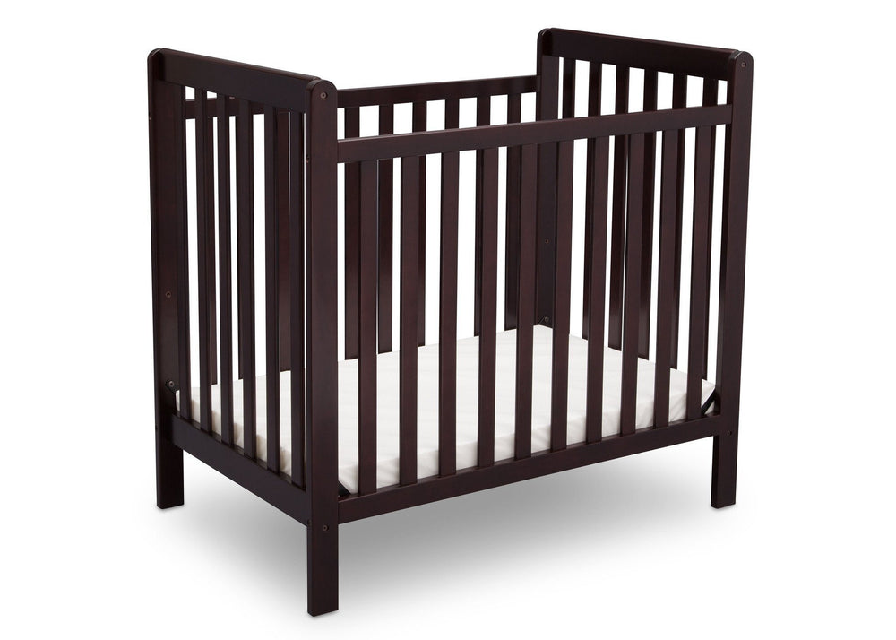 Delta Children Dark Chocolate (207) Classic Mini Crib with Mattress Side View c3c