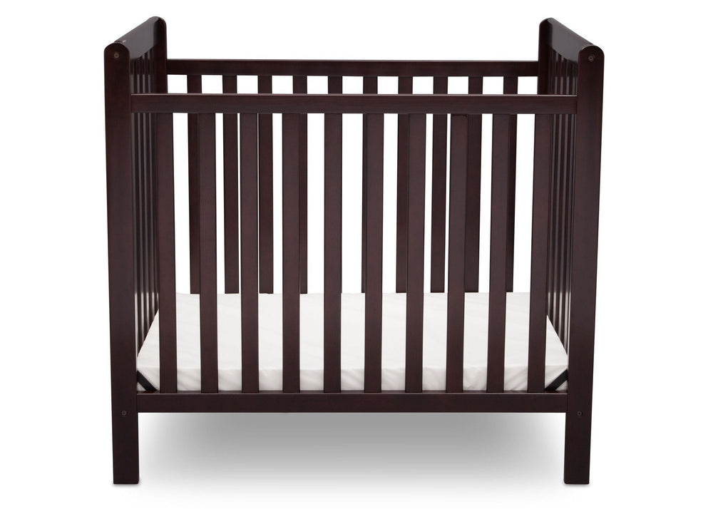 Delta Children Dark Chocolate (207) Classic Mini Crib with Mattress Front View c2c