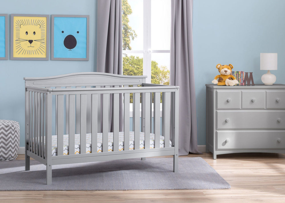Delta Children Grey (026) Independence 4-in-1 Convertible Crib, Room View a1a