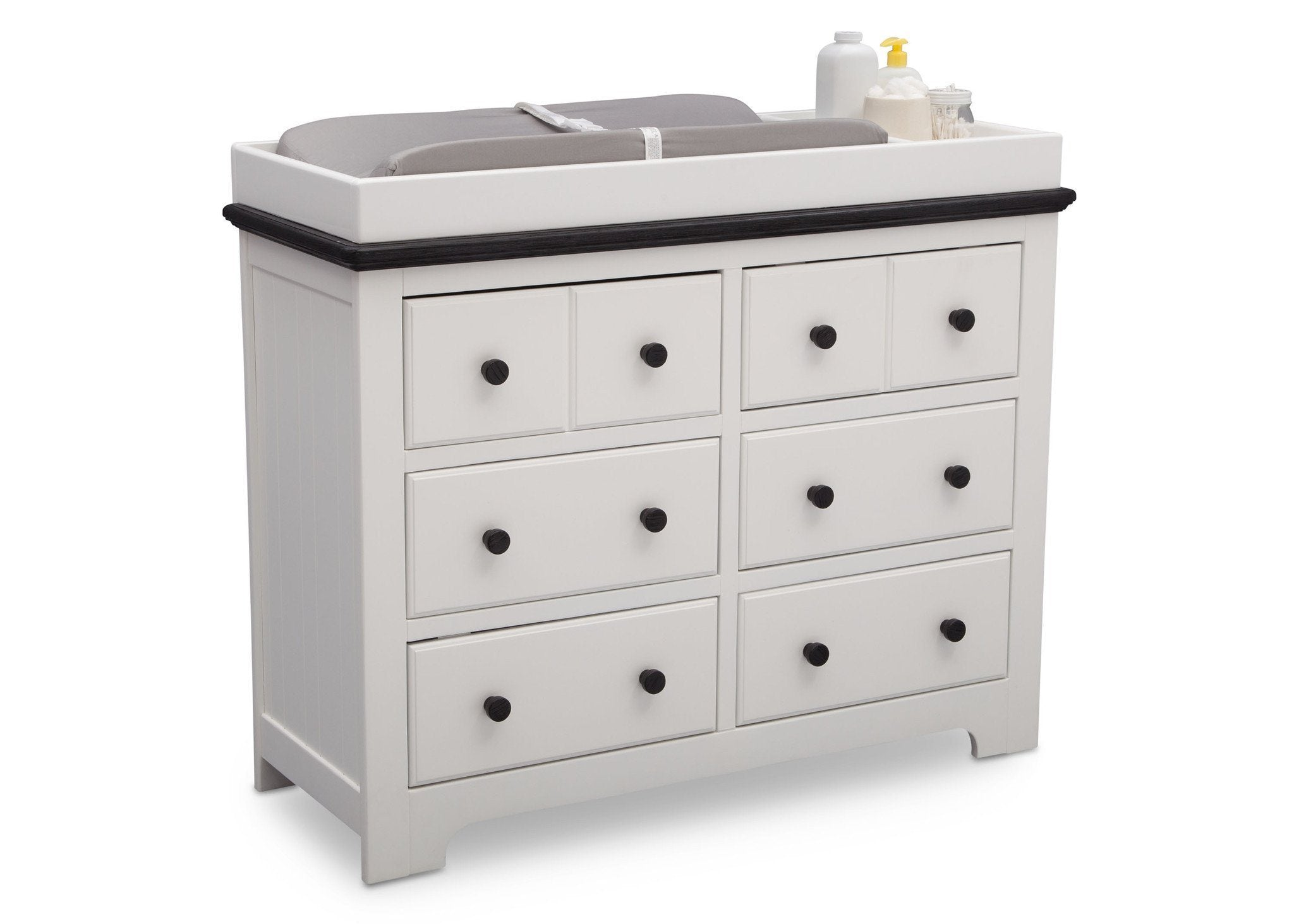 Delta Children Bianca with Rustic Ebony (135) Providence 6 Drawer Dresser, with Changing Tray a4a