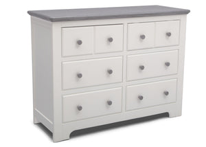 Delta Children Bianca with Rustic Haze (136) Providence 6 Drawer Dresser, Angled View b3b