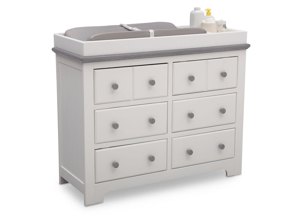 Delta Children Bianca with Rustic Haze (136) Providence 6 Drawer Dresser, with Changing Tray b4b