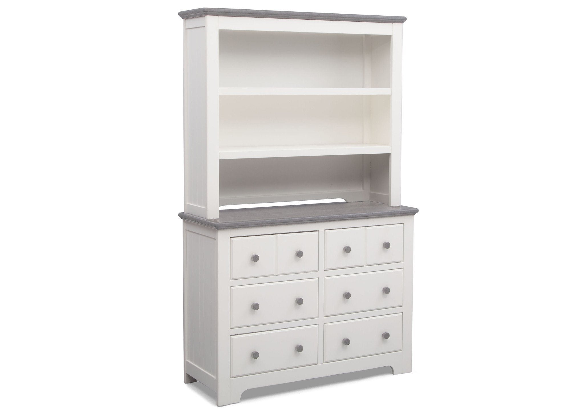 Delta Children Bianca with Rustic Haze (136) Providence 6 Drawer Dresser, with Bookcase/Hutch b5b