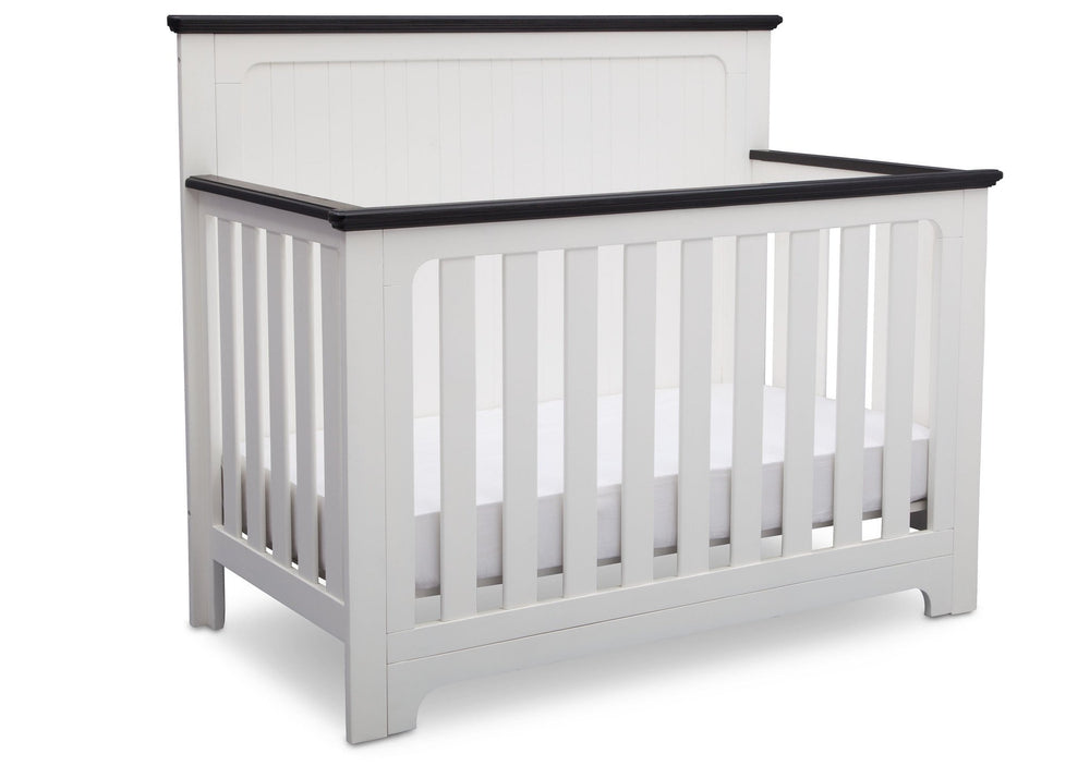 Delta Children Bianca with Rustic Ebony (135) Providence 4-in-1 Crib, Angled View a4a