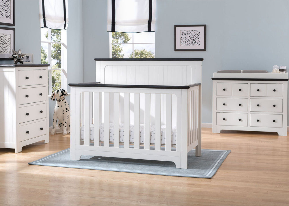 Delta Children Bianca with Rustic Ebony (135) Providence 4-in-1 Crib, Room a1a