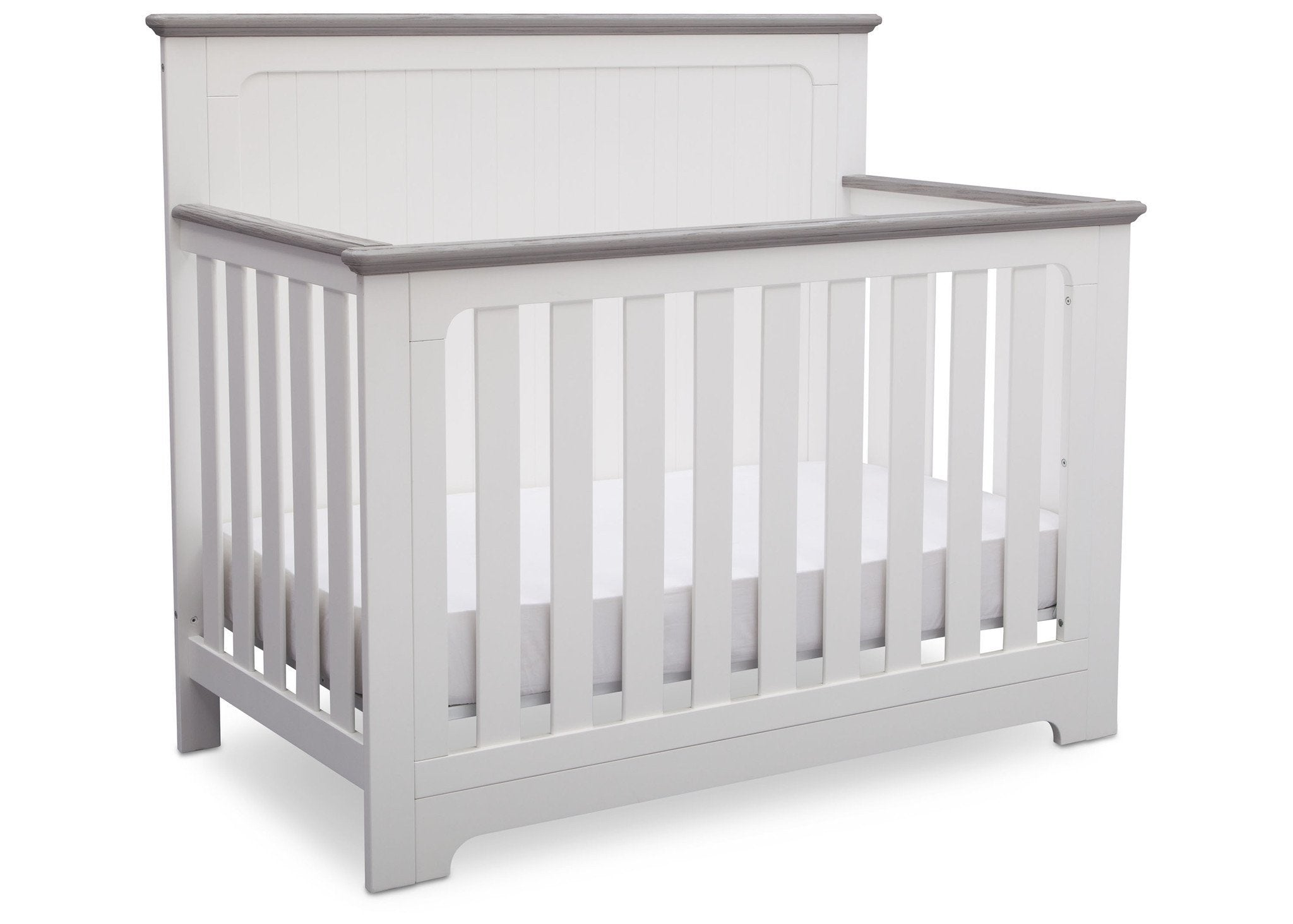 Delta Children Bianca with Rustic Haze (136) Providence 4-in-1 Crib, Angled View b4b