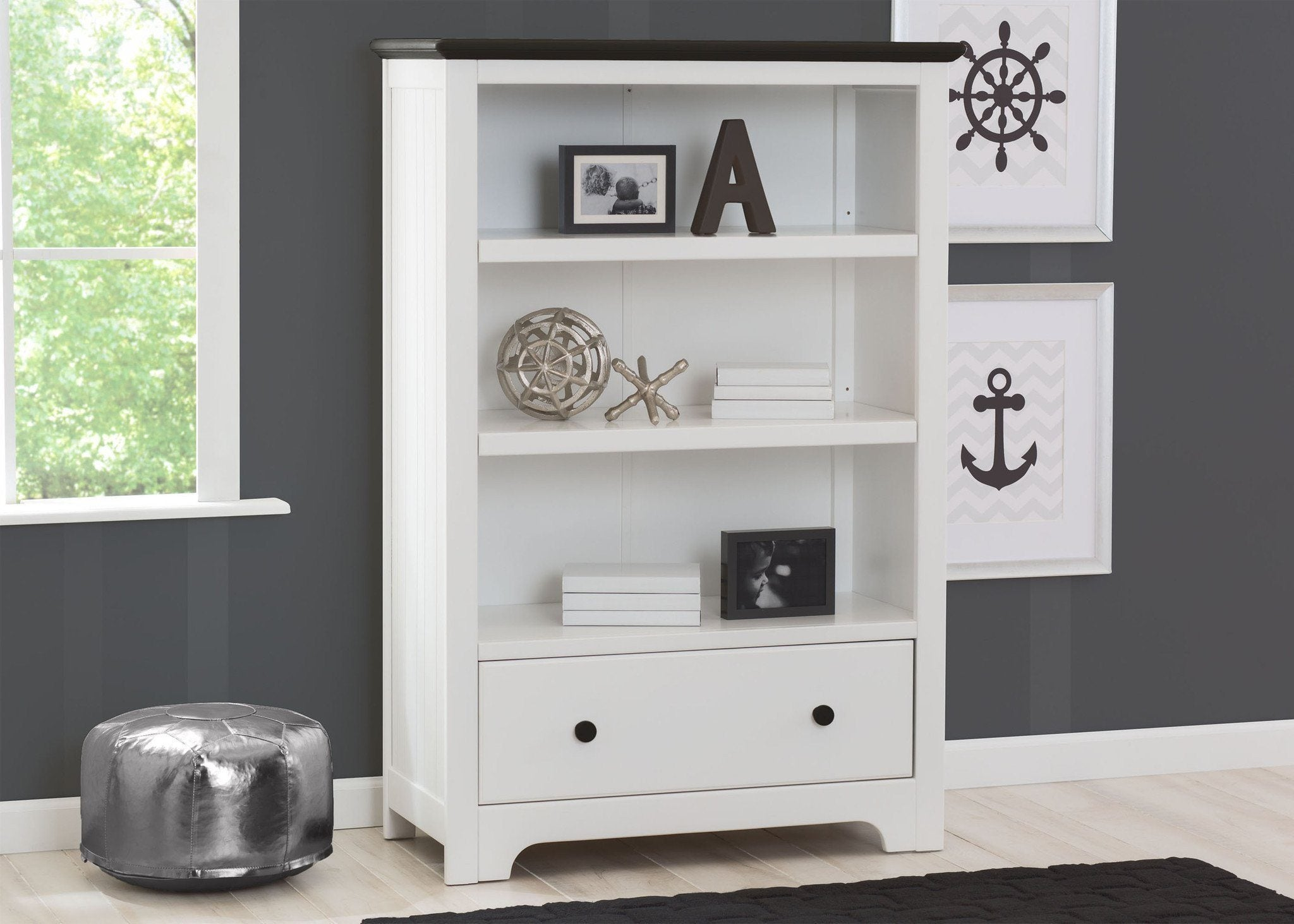 Delta Children Bianca With Rustic Ebony 135 Providence Bookcase Drawer Room