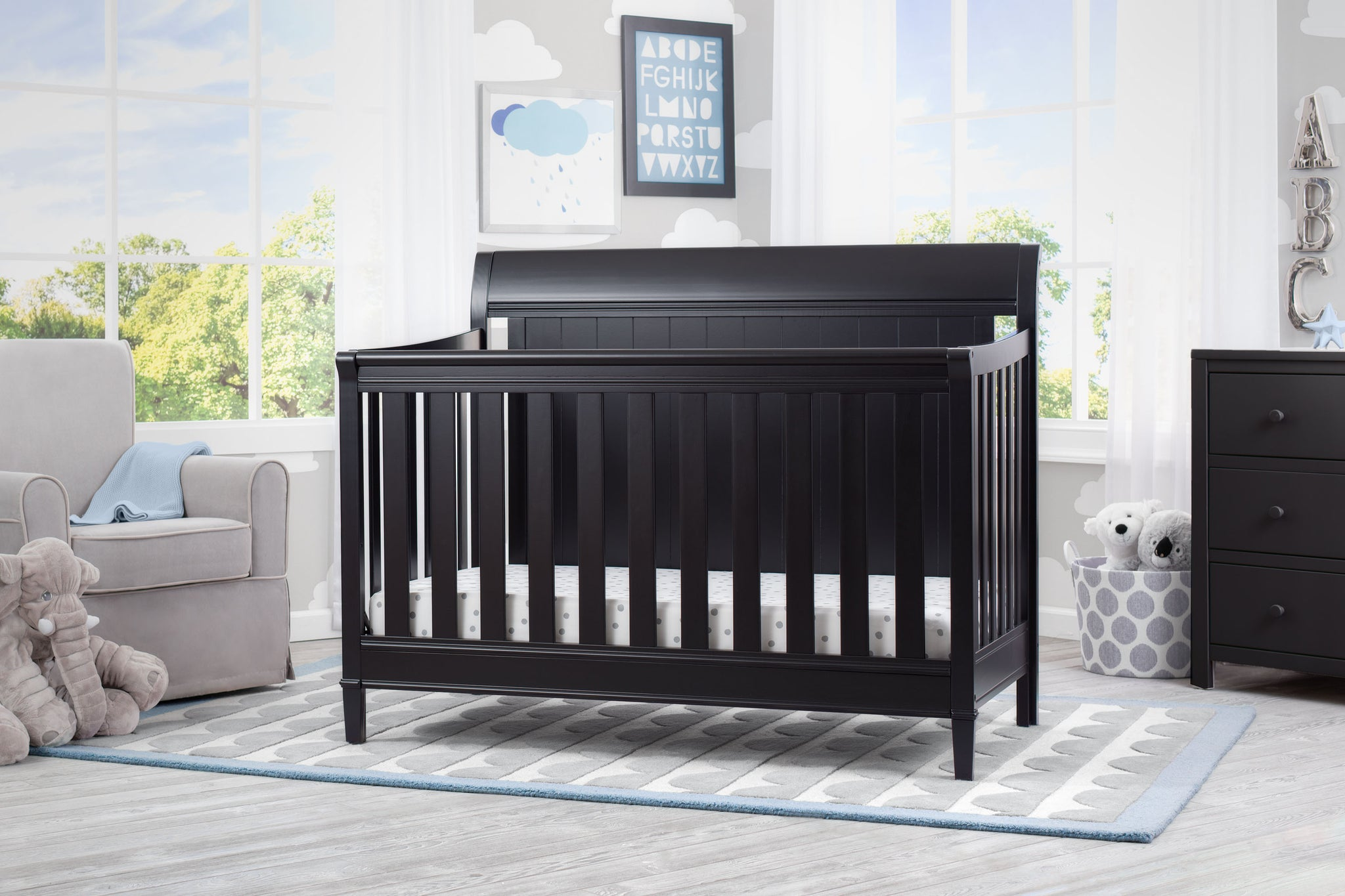Delta Children Ebony (0011) New Haven 4-in-1 Crib, Hangtag, a1a