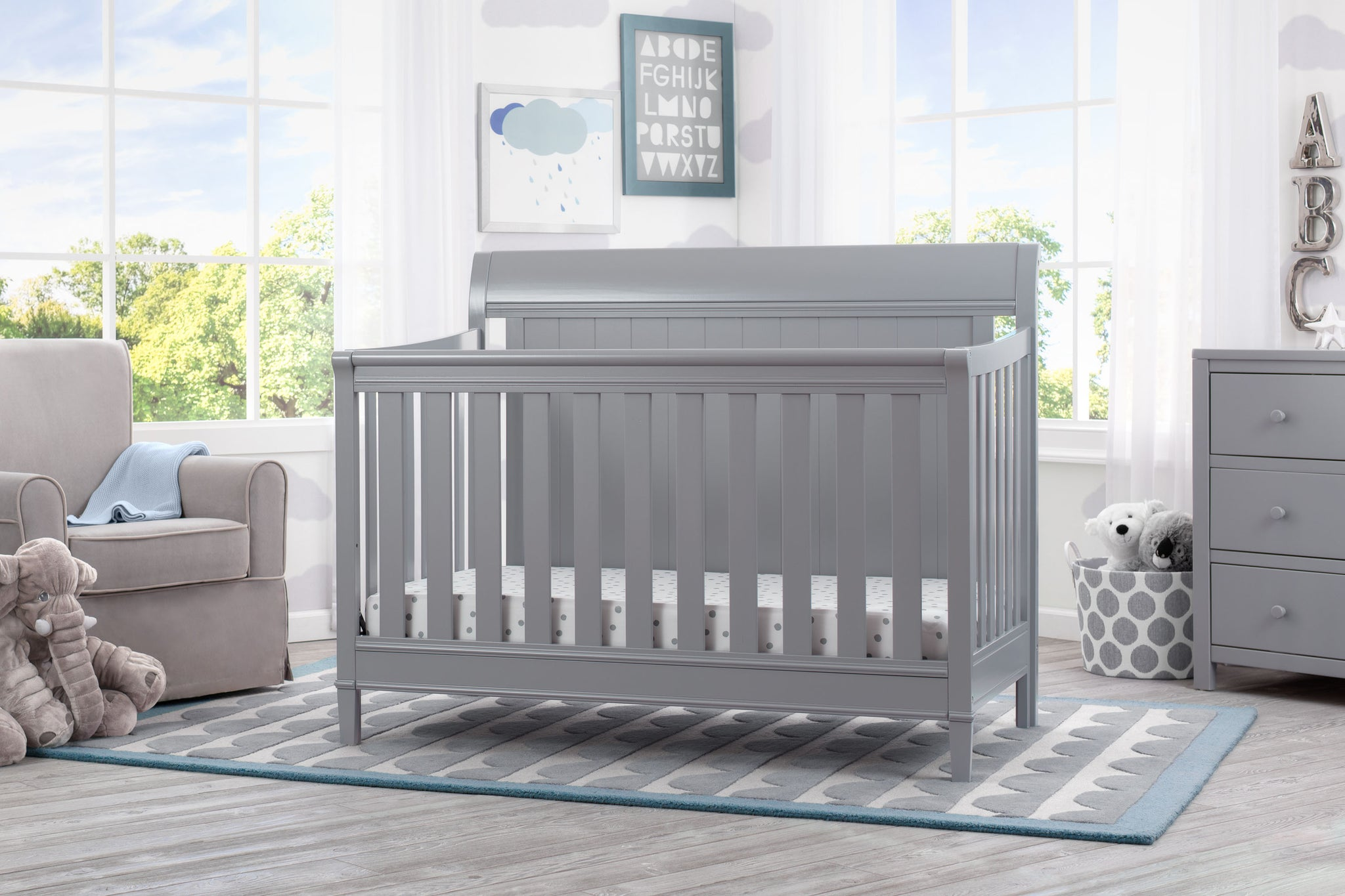 Delta Children Grey (026) New Haven 4-in-1 Crib, Hangtag, b1b