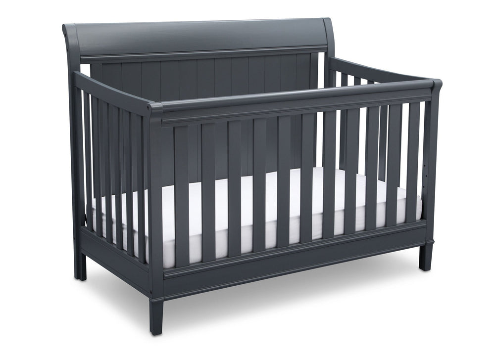 Delta Children Charcoal (029) New Haven 4-in-1 Crib, Angled View, c3c