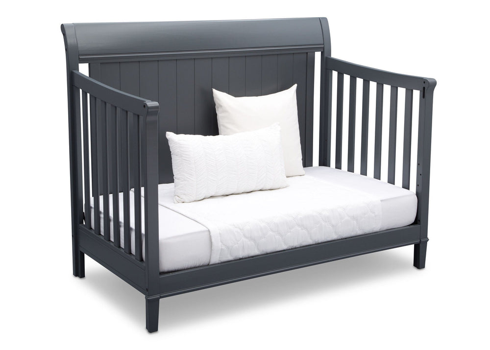 Delta Children Charcoal (029) New Haven 4-in-1 Crib, Angled Conversion to Daybed, c5c