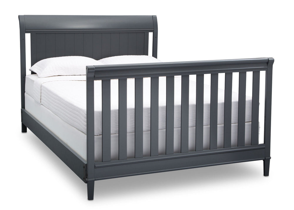 Delta Children Charcoal (029) New Haven 4-in-1 Crib, Angled Conversion to Full Size Bed, c6c