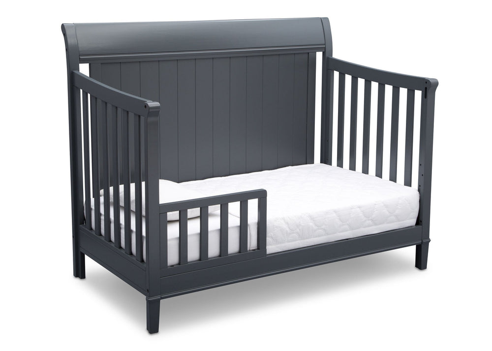 Delta Children Charcoal (029) New Haven 4-in-1 Crib, Angled Conversion to Toddler Bed, c4c