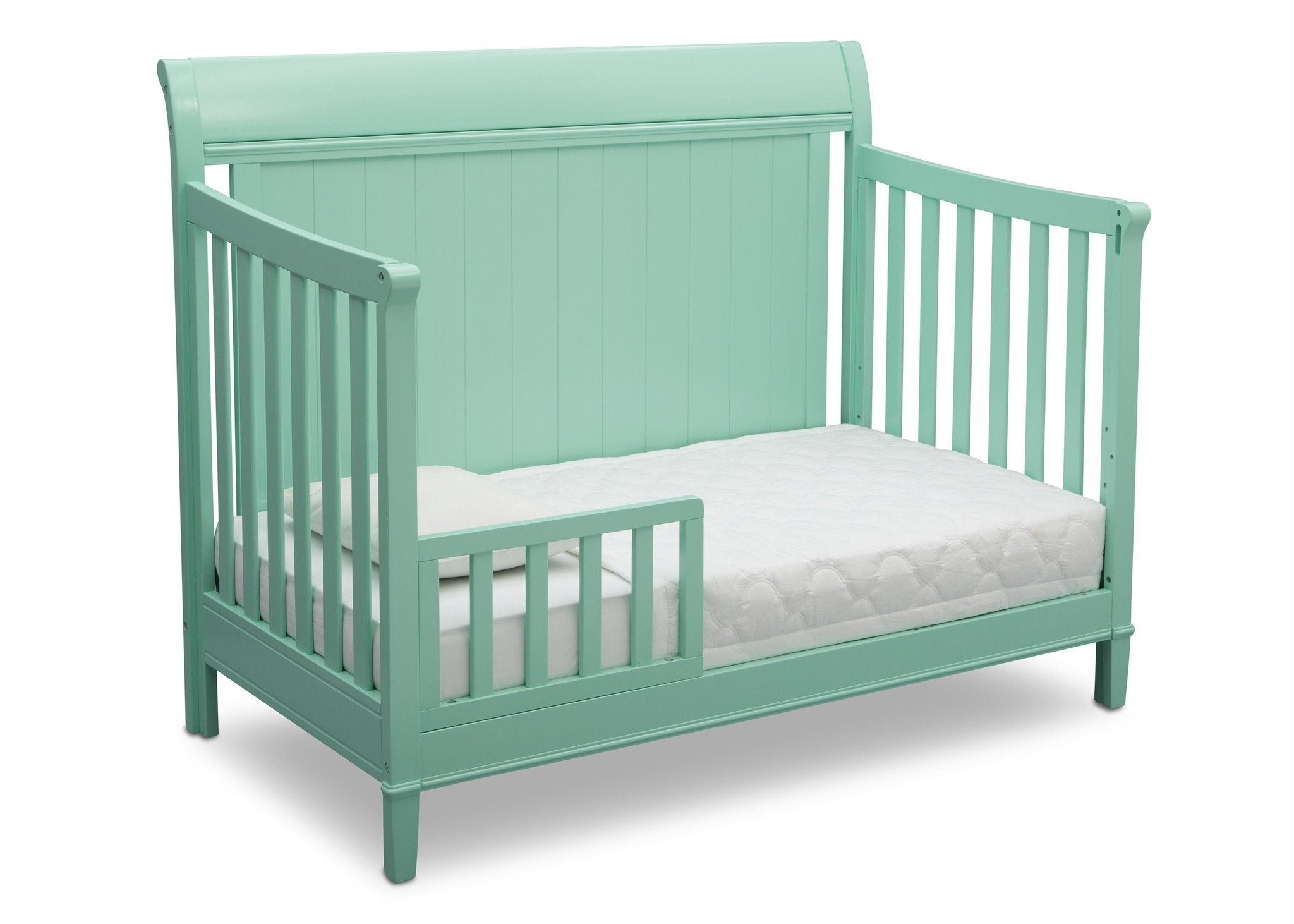 Delta Children Aqua (347) New Haven 4-in-1 Crib, Angled Conversion to Toddler Bed, e4e