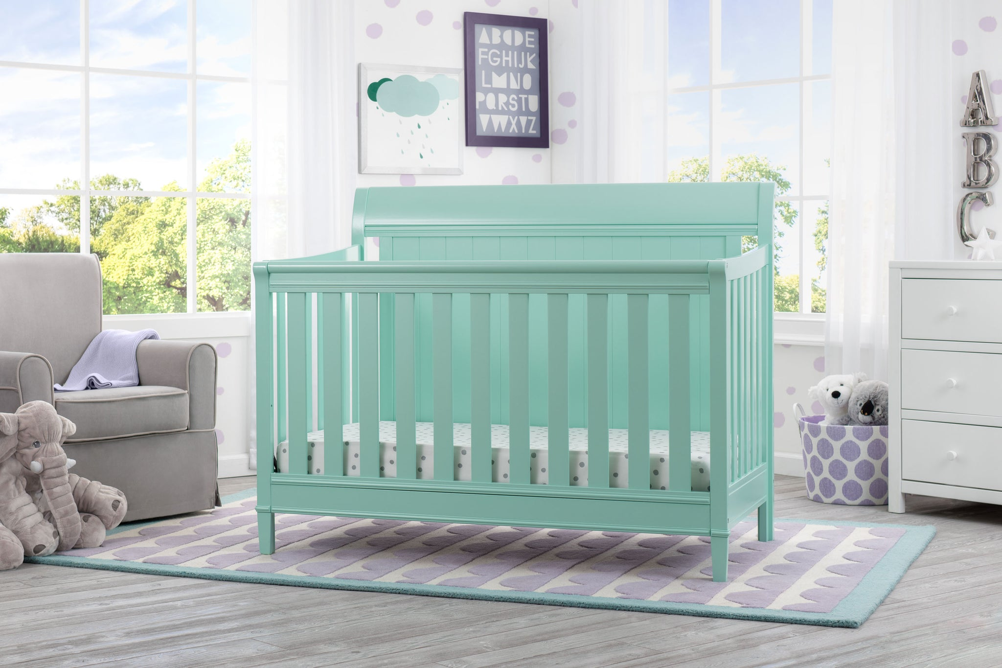 Delta Children Aqua (347) New Haven 4-in-1 Crib, Hangtag, e1e