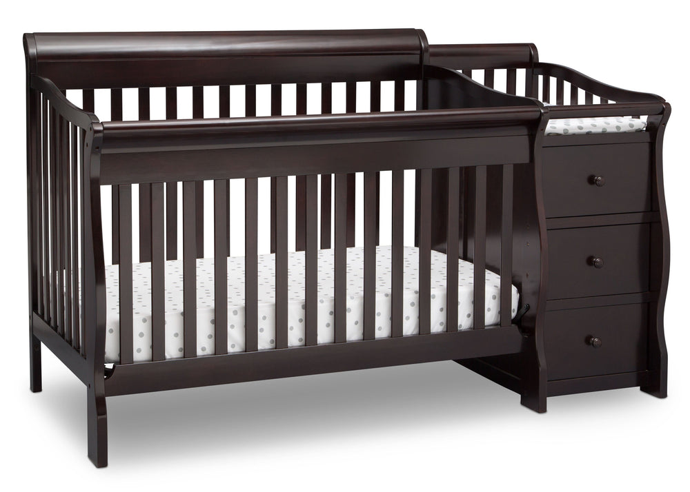 Princeton Junction Convertible Crib N Changer Dark Chocolate (207) Angle c3c