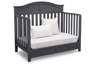 Delta Children Dark Charcoal (029) Bennington Elite Curved 4-in-1 Crib angled conversion to daybed c5c