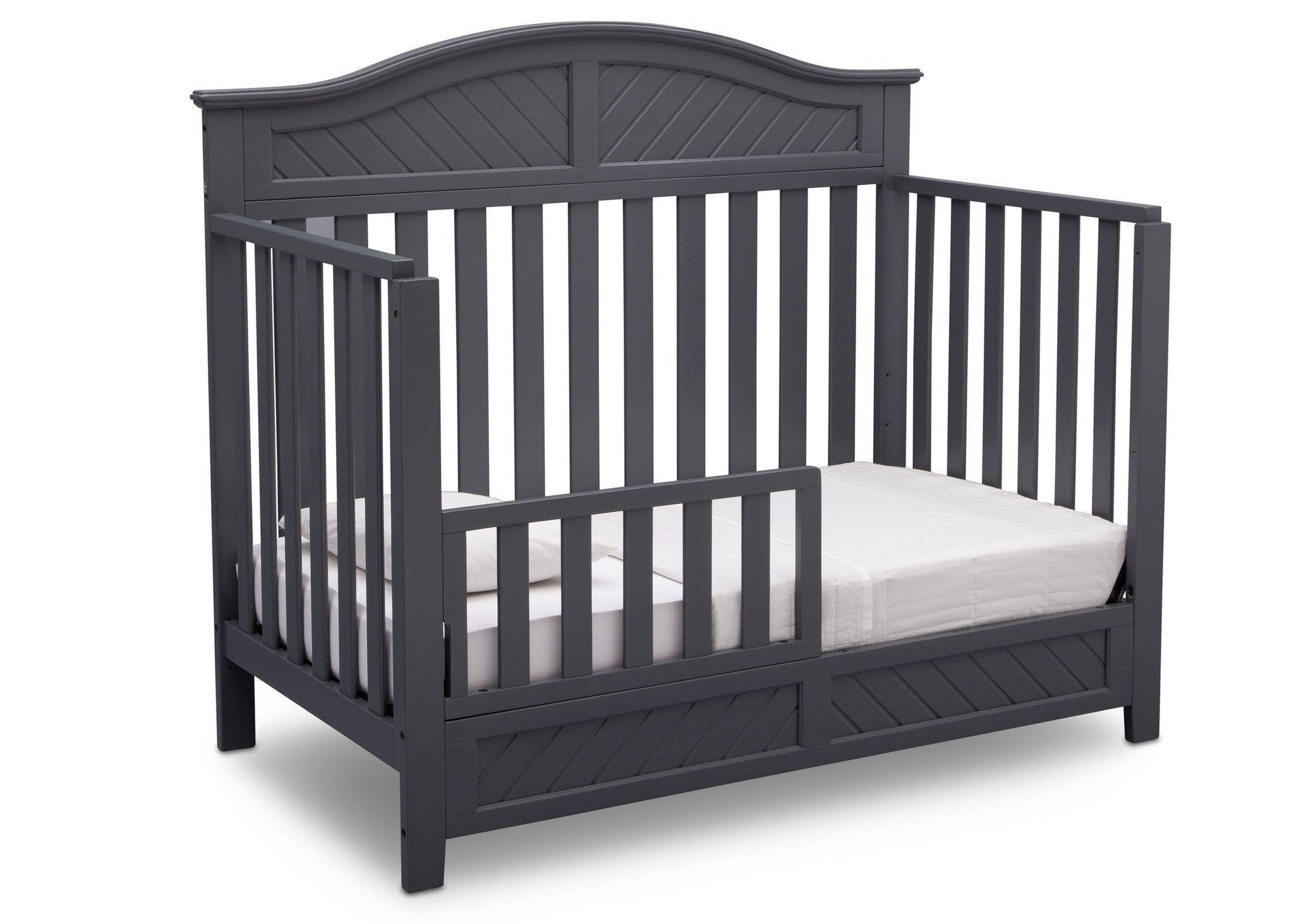 Delta Children Charcoal (029) Bennington Elite Curved 4-in-1 Crib angled conversion to toddler bed c4c