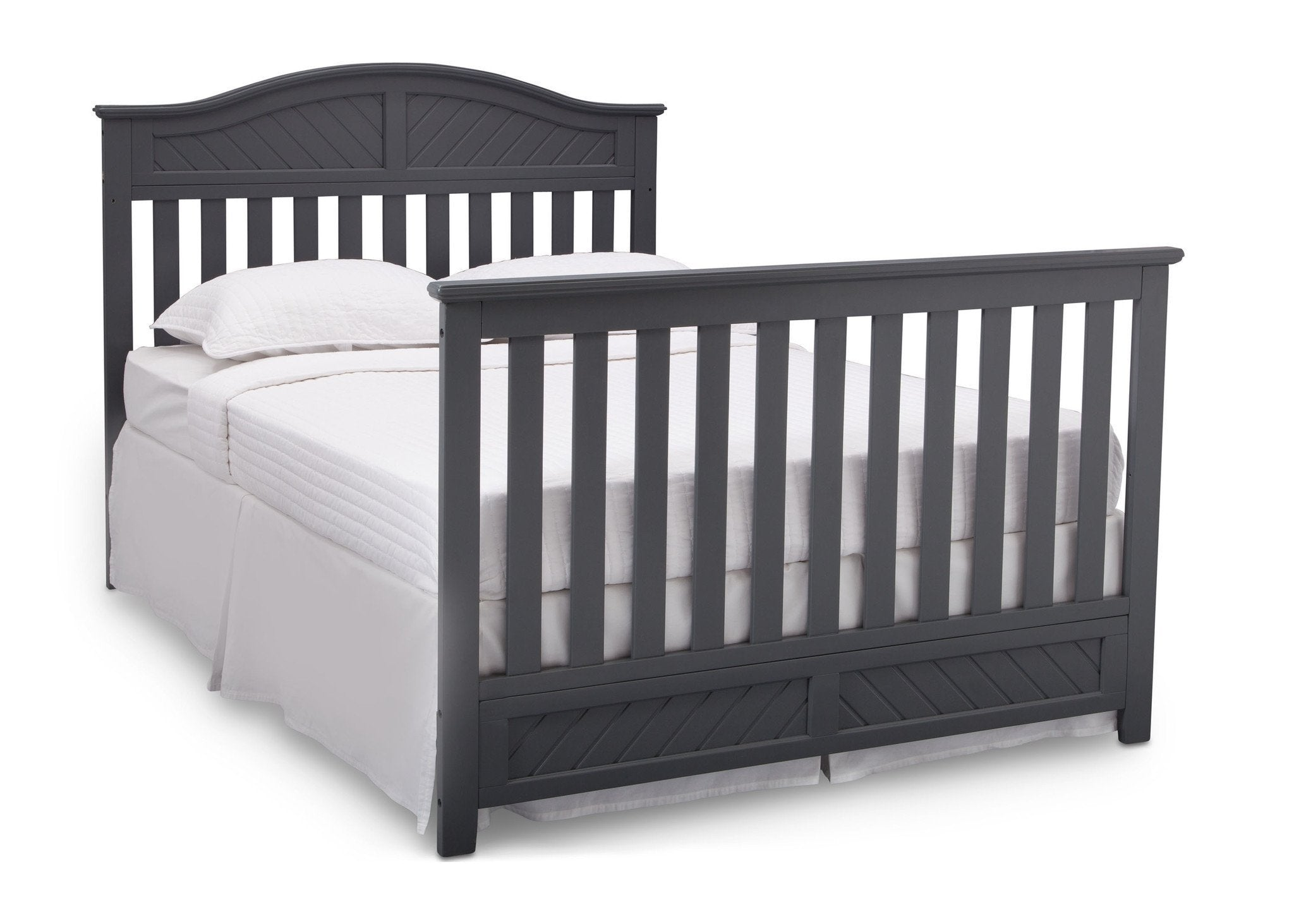 Delta Children Dark Charcoal (029) Bennington Elite Curved 4-in-1 Crib angled conversion to full size bed c6c