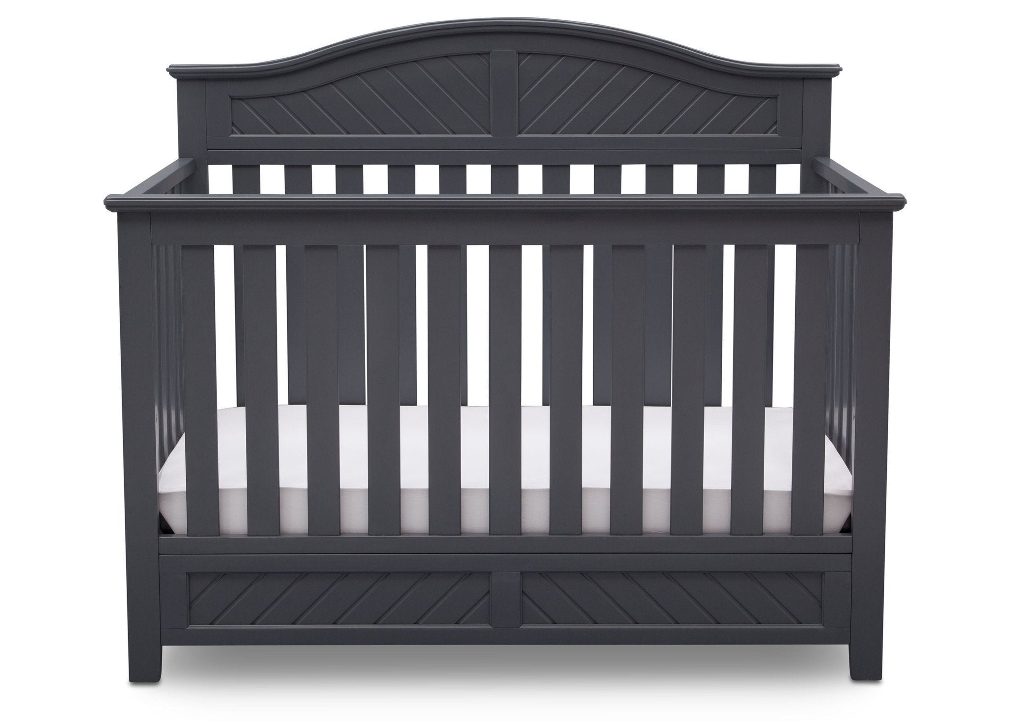 Delta Children Charcoal (029) Bennington Elite Curved 4-in-1 Crib Front View c2c