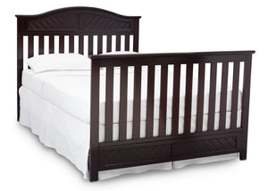 Delta Children Dark Espresso (958) Bennington Elite Curved 4-in-1 Crib angled conversion to full size bed b6b