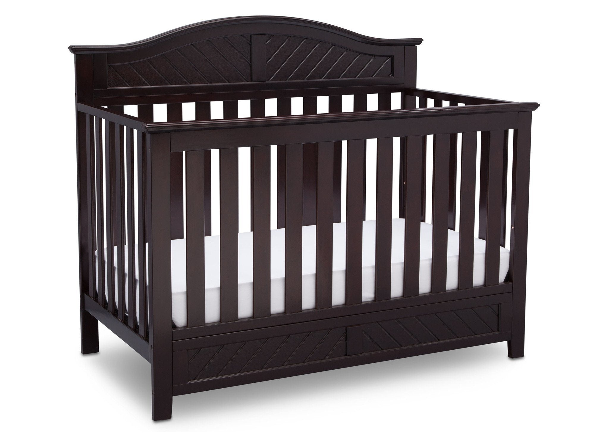 Delta Children Dark Espresso (958) Bennington Elite Curved 4-in-1 Crib Side View b3b