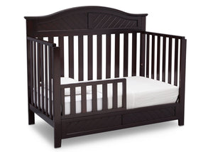 Delta Children Dark Espresso (958) Bennington Elite Curved 4-in-1 Crib angled conversion to toddler bed b4b