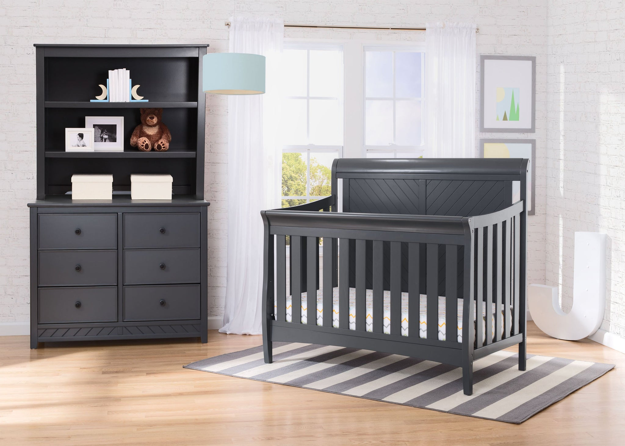 Delta Children Charcoal Grey (029) Bennington Elite Sleigh 4-in-1 Convertible Crib (550650), Room, a1a