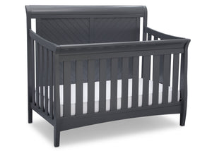 Delta Children Charcoal Grey (029) Bennington Elite Sleigh 4-in-1 Convertible Crib (550650), Right Angle, a3a