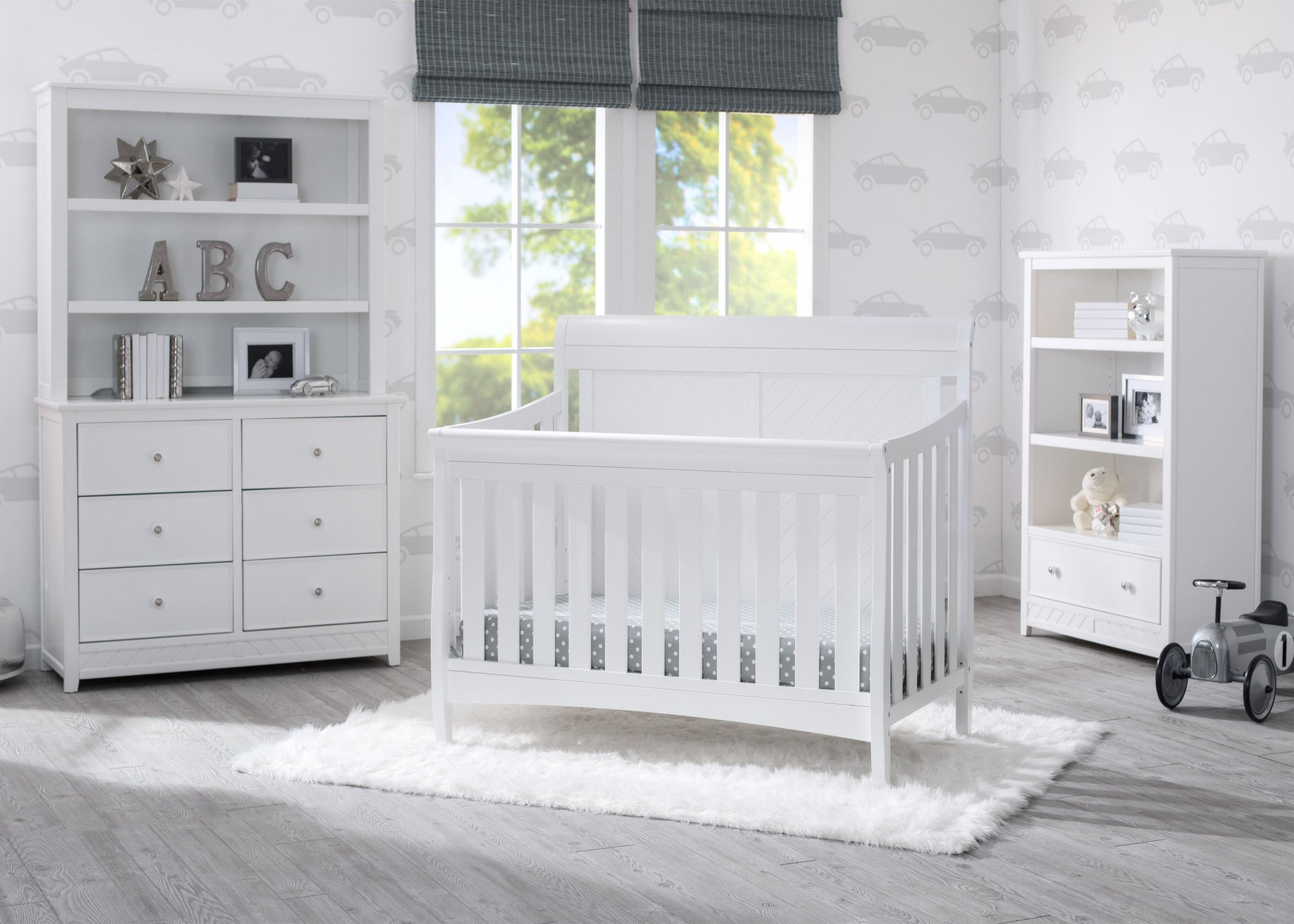 Delta Children Bianca (130) Bennington Elite Sleigh 4-in-1 Convertible Crib (550650), Room, b1b