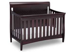 Delta Children Dark Espresso (958) Bennington Elite Sleigh 4-in-1 Convertible Crib (550650), Right Angle, c3c