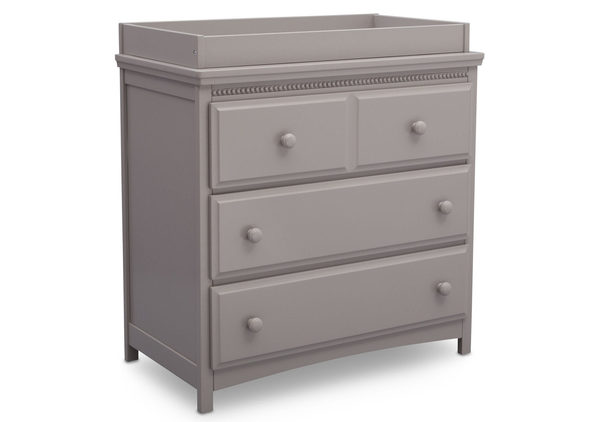 Delta Children Grey (026) Emerson 3 Drawer Dresser with Changing Top, Angled View a3a